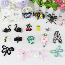 Mini Swan Bee Butterfly Sequins Sew Iron On Patches Flower Beaded Embroidered Cloth Applique Badge Fabric Apparel Sewing Crafts