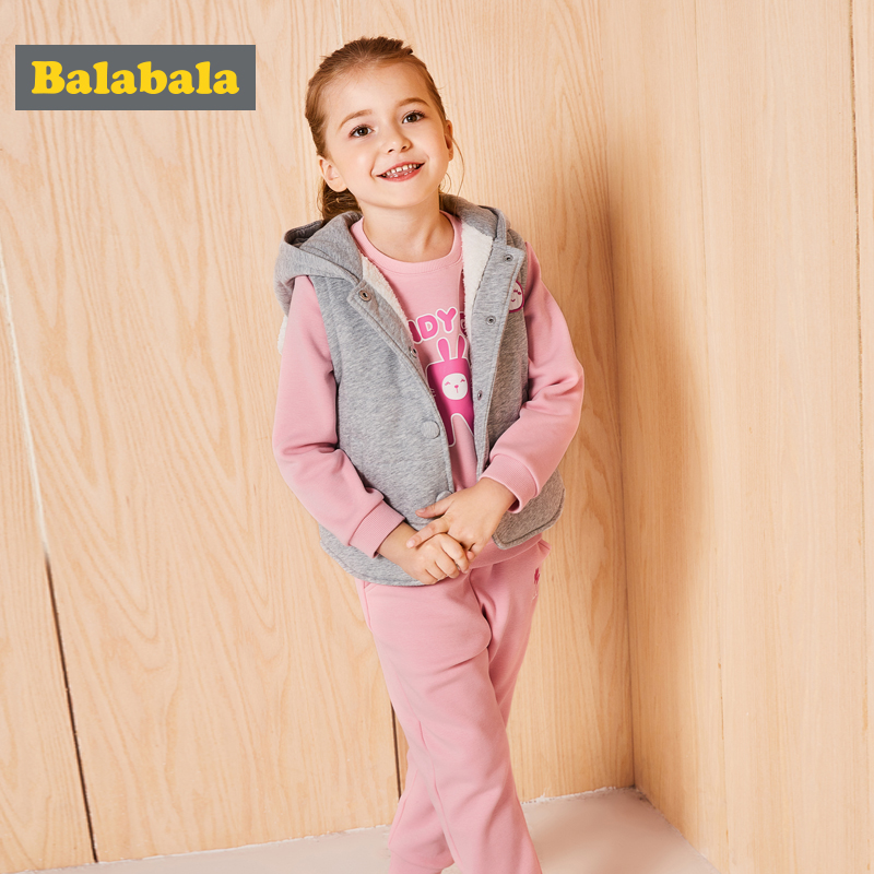 balabala costumes Set for girl kids toddler baby clothing three pieces vest+sweater+pants suit casual clothes for sport suit<br>