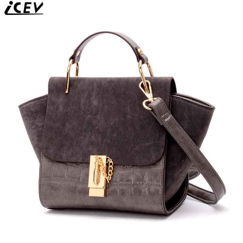 ICEV brand women luxury handbags high quality suede nubuck leather patchwork ladies shoulder bag trapeze clutch bat wing bags<br>