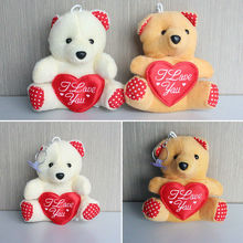 Hot Sale 11cm Mini Plush Bear Toys With Heart(beige, brown), Cheap Wholesale 100 Pcs/lot Stuffed Bear Toys Free Shipping(China)
