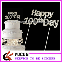 (10 pieces/lot) Custom funny newly-married Happy 100th Day souvenir crystal wedding cake topper