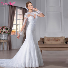 Vestido de noiva Sereia Long Sleeve Wedding Dresses Lace Mermaid White Bride Bridal Gowns Appliques Brazil Retail Store Y96