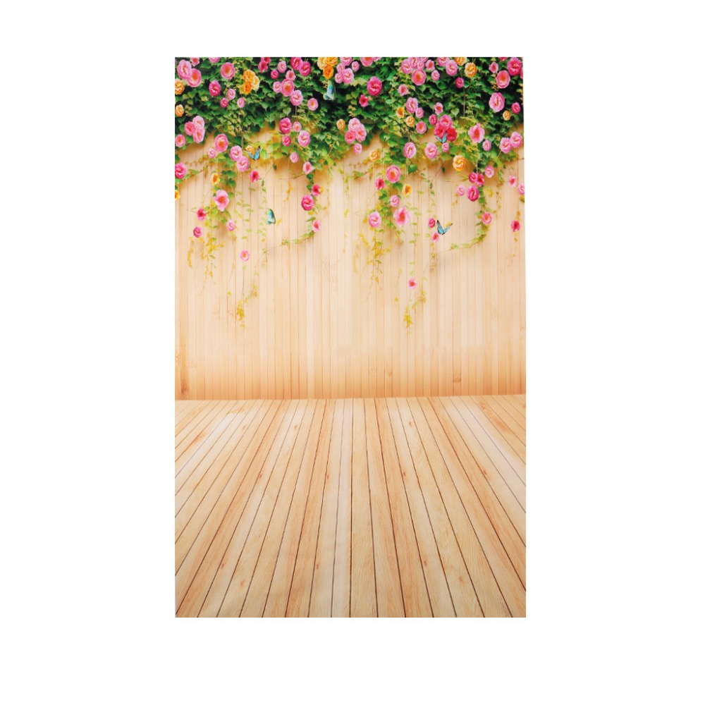 3x5ft flower wood wall vinyl background photography photo studio props - 3x5ft Flower Wood Wall Vinyl Background Photography Photo Props Studio Backdrop