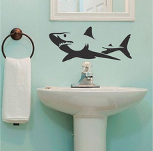 Shark Wall Decals Bathroom Home Decor Eco-friendly Vinyl Wall Sticker for Living Room Creative Wallpaper Adesivo de parede ZA056