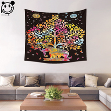 PEIYUAN Colorful India Mandala Elephant Tree of Life Tapestry Wall Hanging Table Cloth Tapestry Beach Towel Home Decorative(China)