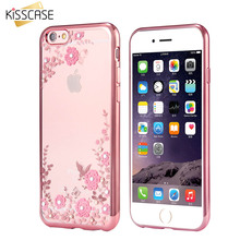 KISSCASE Luxury Rhinestone Soft TPU Case For iPhone 5 5S 6 6S 7 Plus Samsung S7 Flower Diamond Back Cover For Galaxy S7 Edge J7(China)