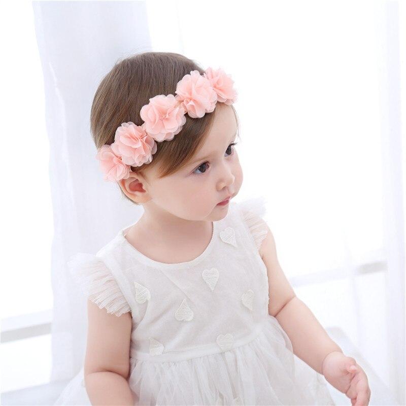 Princess Baby Girls Chiffon Flower Headband Turban Hair Bands Pink Ribbon