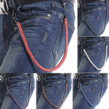 "25"" Long 5 Colors Hip Hop  PU Belt Chain Men Trouser Jeans Key Wallet Chain Hook Faux Leather Braided Chain Punk J52"