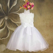 Newest Infant Baby Girl Birthday Party Dresses Baptism Christening Easter Gown Toddler Princess Lace Flower Dress For 2-7 Years(China)