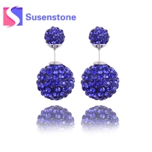 2017 Hot Bijoux Fashion Charm Double Crystal Cubic Zircon Ball Wedding Stud Earrings Women's Elegant Jewelry Gift Free Shipping(China)