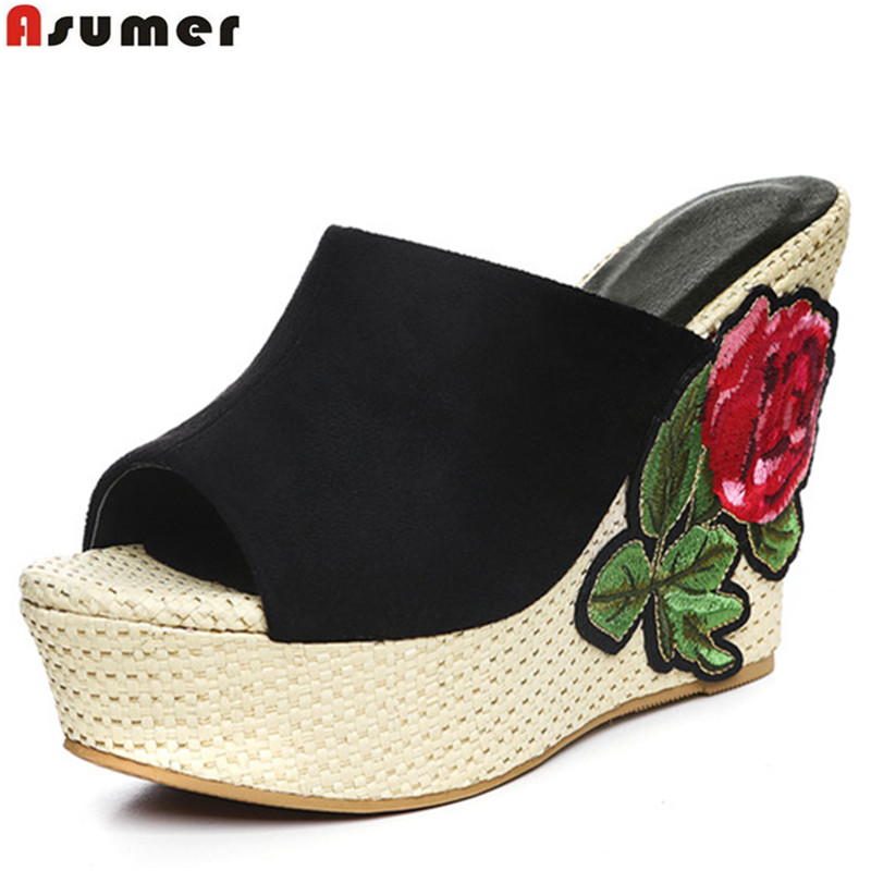 Asumer 2017 hot sale new arrive women sandals fashion wedges summer shoes elegant flower platform peep toe high heels shoes<br>