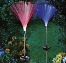 Fashion fiber optic ventress decoration light colour changing LED solar power stake light garden outdoor path Lawn lamp X 2PCS(China)