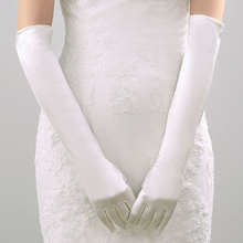 Satin Elbow Long Finger Bridal Gloves Wedding Party Dance Gloves Wedding Accessories Ivory/White/Black