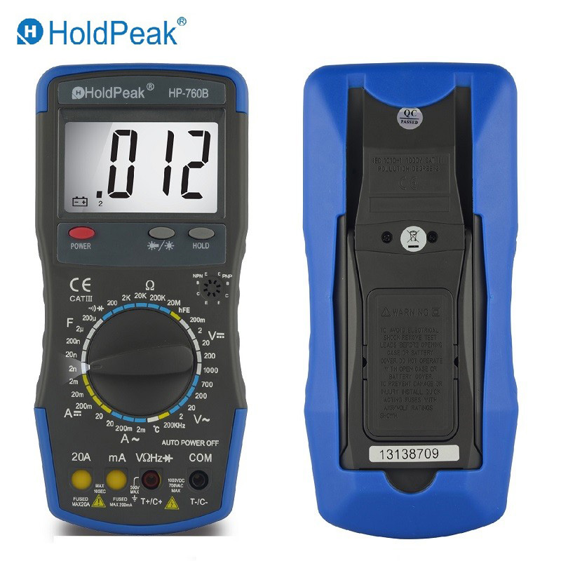 HoldPeak HP-760B Digital Multimeter Meter with Frequency Temperature Capacitance Resistance Test and Carry Bag<br>