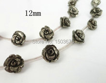 15.5 inches/strand of Natural Iron Pyrite Carved Rose Flower Shape Necklace, Hematite Jewelry Pendant, Wholesale Beads