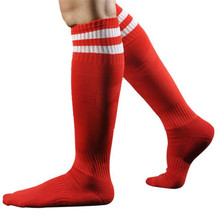 1 Pair Boys Men Sport Sox Football Soccer Long Socks Striped Sock High Sock Baseball Hockey Football Socks Feb17