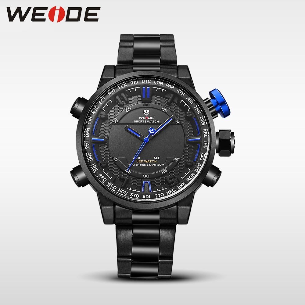 WEIDE analog clock men Digital double display watch srainless steel bracelets quartz sport waterproof electronic wrist watches<br>