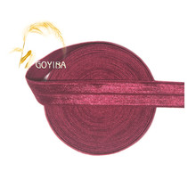 "GOYIBA 5 Yard 5/8"" 1.5cm Sherry Solid FOE Foldover Elastics Spandex Satin Kids Hairbands Headbands Lace Trims DIY Sewing Notions"