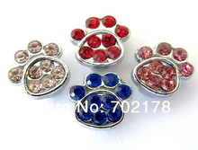 free shipping wholesales price 50pcs 8mm zinc alloy mix color rhinestone paw Slide Charms Fit 8mm Pet Dog Cat Tag Collar band