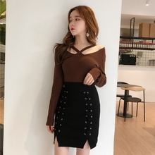 Buy Women Sexy Lace-up Mini Skirts Female Fashion Knitted Pencil Skirts 4 Colors for $9.13 in AliExpress store