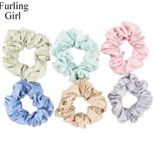 Furling Girl 1PC Pattern English Lette Fabric Hair Scrunchy Ponytail Holder Hair ties Gum Hair Bands