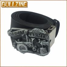 Bullzine American farmer belt buckle with pewter finish with PU belt with connecting clasp FP-02483-1 free shipping(China)