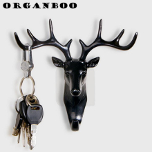 ORGANBOO Creative American hook deer head modeling wall decoration hanger suction cup living room bedroom coat key hooks
