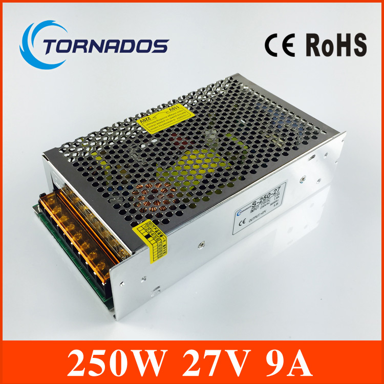 250W 27V 9A Single Output Switching power supply for LED Strip light AC to DC with CE certification safe (S-250-27)<br>