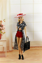(Combine Shipping) Fahion Clothes Casual Suit Long Stripe Cloak Red Had Short Bag Shoes Accessories Outfit For Kurhn Barbie Doll