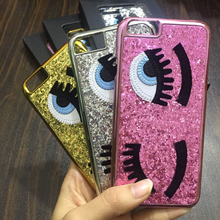 Luxury fashion Bling Glitter powder Bling 3D big eye eyelashes Plating back Cover phone Cases for iPhone 8 7 5 5s SE 6 6S Plus X