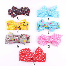 DIY Fashion Kid Child Baby Head Wrap Top Knot Dot Big Bow Vintage Headbands Retro Scarf Infants Headwear Girl Hair Accessories
