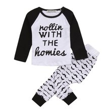 UNIKIDS Kids 2PCS Toddler Baby Boys Girls Casual T-shirt Tops+Long Pants Outfits Clothes Set High Quality(China)