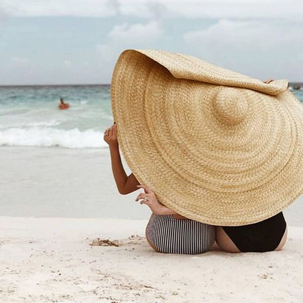 ins Fashion Large Sun Hat Beach Anti-UV Sun Protection Foldable Straw Cap Cover Oversized Foldable Fun Hat Beach Strawhat bande réfléchissante scooter orange pour fourche