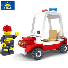 Kazi 98202 62pcs City fire car Building Blocks Learning School Christmas Gift brinquedos educational toys for children