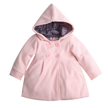 2017 New Baby Toddler Girls Fall Winter Horn Button Hooded Pea Coat Outerwear Jacket(China)