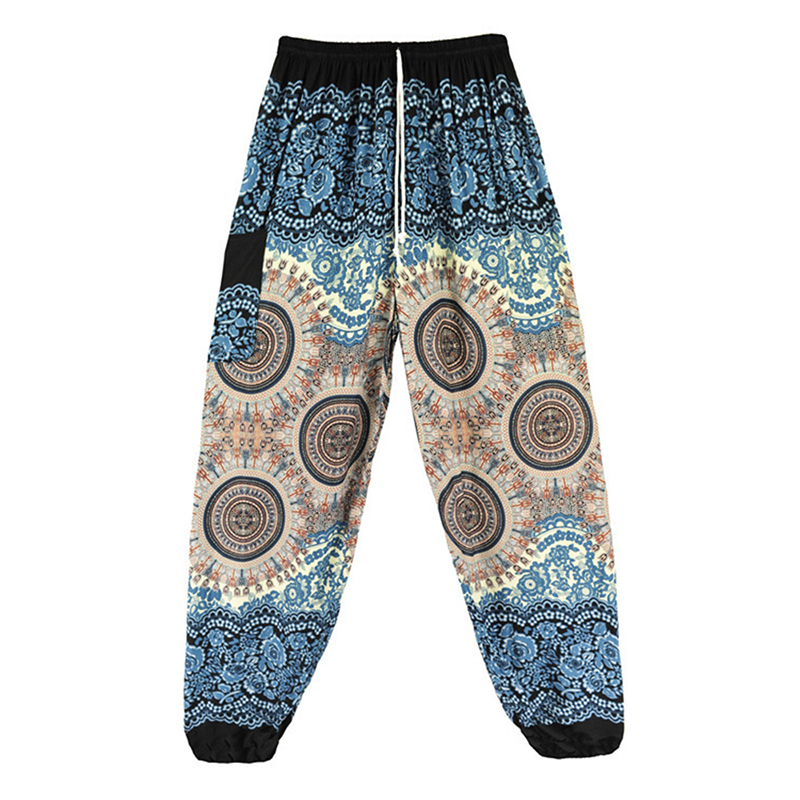 2018 Women Spring Summer Long Pants Loose Indie Folk Boho Harem Pants Baggy Hippie Gypsy Lantern Pants Printed Elastic Waist