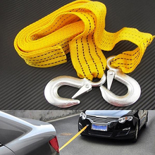 3M 3Tons Car Tow Cable Emergency Trailer Rope 2 Anti-Slip Hooks for Heavy Duty Store 47