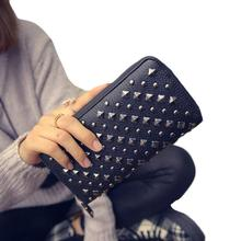 2016 Woman Long Purse Clutch Women Card Punk Rivet Lady Wallets Women's Leather Bag Ladies Casual Wallet carteras mujer #YHYW(China)