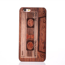 Retro Tape Carving Wood + PC Phone Case For IPhone 7 7plus 6 6s plus 5 5G 5S SE Novetly Wooden Hard Case Cover