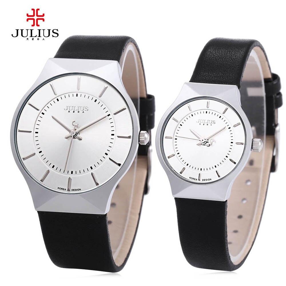 Julius JA-577 Lovers Watches Women Men Ultrathin Quartz Watch Round Dial Leather Strap Clock Relogio Masculino Montre Femme 2017<br><br>Aliexpress