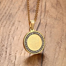 Men Islamic Quran Inscription Round Pendant Necklace in Gold-color Muslim Allah Arabic Styles Rhinestone Stainless Steel Jewelry(China)