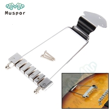 A Set 6 String Archtop Trapeze Tailpiece for Hollow Semi Hollow Jazz Electric Guitar - Chrome - Gold