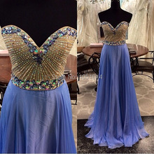 Formal Party Prom Gowns For Sale A Line Sweetheart Neckline Beaded Crystals Top Blue Chiffon Long Real Sample Photos Prom Dress