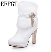 EFFGT 2017 High Heels Rabbit Fur Boots Women's Plush Warms boots Waterproof Taiwan Diamond tassel Ankle Boots H51
