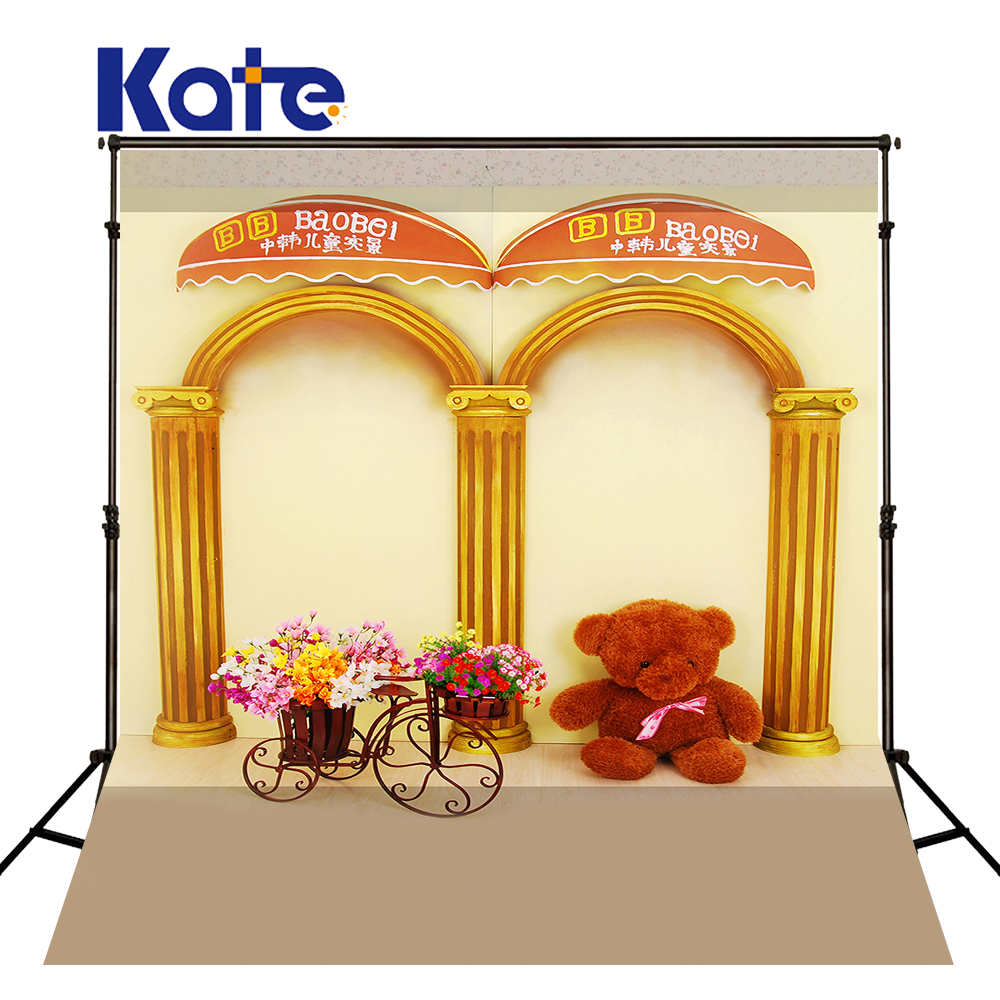 KATE Photography Backdrop Solid Brown Floor Bicycle Children Photo Bear Gold Pillar Photo Studio Background for Photo Studio<br>