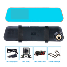Dual lens car camera Rearview mirror Motion montitoring Support Front Car Distance warning Reverse Auto switch rear video