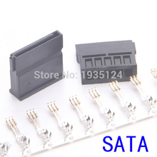 good quality free shipping SATA Power Connector Crimp Plug with Terminal Pin for SATA Hard Drive - Black(China)
