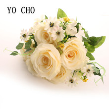 YO CHO Wedding Decoration Large 6 Heads Artificial Peony Bouquet Plants Diy Christmas Decorations For Home Silk Rose Fake Flower(China)
