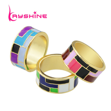 New Arrival Unique Bohemian Jewelry Gold-Color Pated with Colorful Enamel Geometric Pattern Finger Rings For Women Bijoux