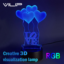 3D Visual Bulb Optical Illusion Colorful LED Table Lamp Touch Romantic Holiday Night Light Baymax Love Heart Wedding gifts